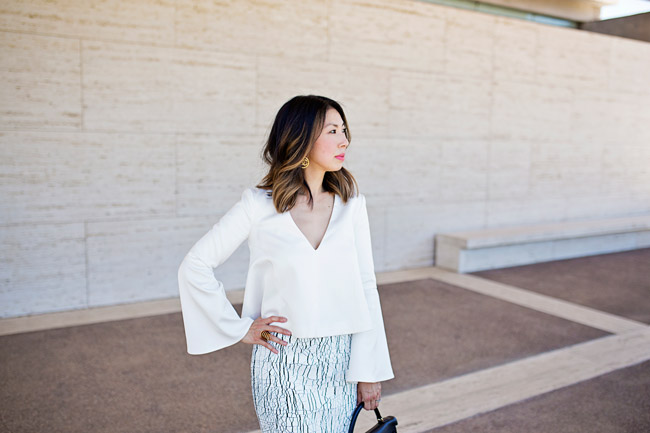 lob haircut with ombre highlights, balenciaga cracked skirt, keepsake little faith top, hermes kelly bag, style of sam
