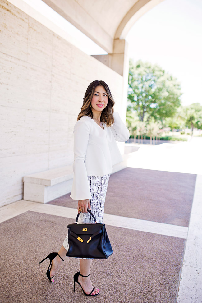 lob haircut with ombre highlights, balenciaga cracked skirt, keepsake little faith top, hermes kelly bag, style of sam, stuart weitzman nudist heel