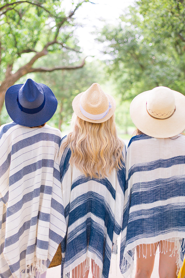 chic at every age, beach swimsuit coverup, how to wear a poncho, summer straw hats