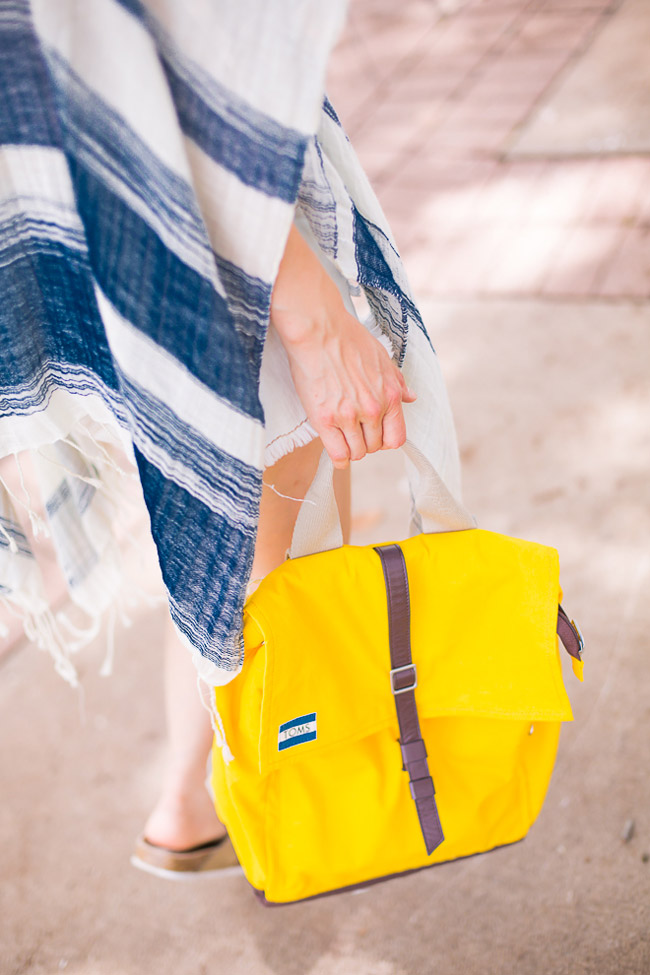 chic at every age, beach swimsuit coverup, how to wear a poncho, TOMS yellow backpack, urban outfitters striped open poncho