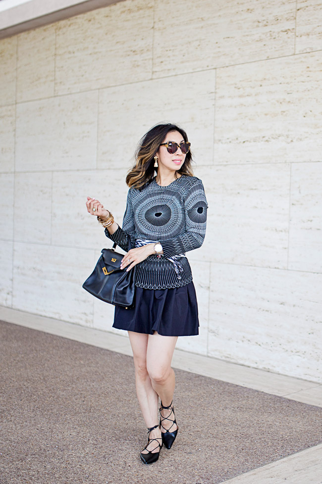 style of sam, geometric top and ikat obi belt, miu miu faille skirt, topshop lace up flats, hermes kelly bag, how to wear black