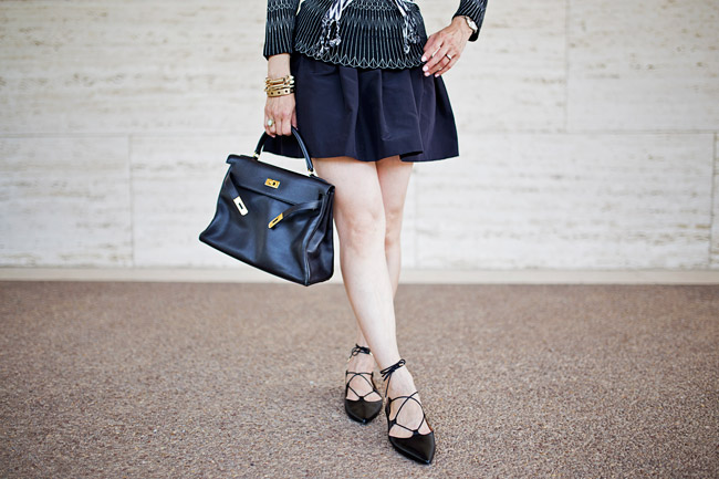 geometric top, miu miu faille skirt, topshop lace up flats, hermes kelly bag, how to wear black