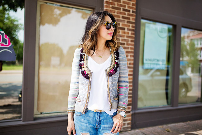 how to wear boyfriend jeans, isabel marant flana jacket, lob haircut with ombre highlights