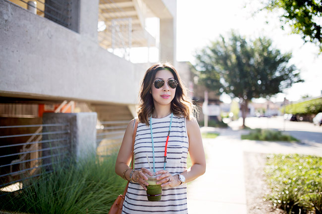 striped sleeveless dress for summer, mansur gavriel bucket bag, lob haircut with ombre highlights, style of sam