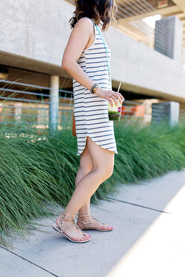 striped sleeveless dress for summer, mansur gavriel bucket bag, lob haircut with ombre highlights, style of sam, how to wear flat sandals