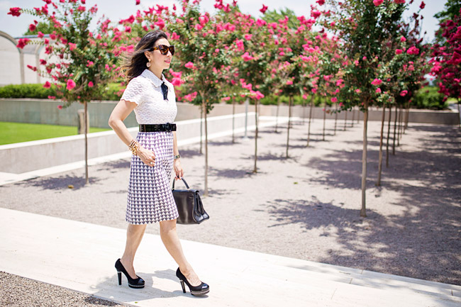 Tie Neck Dress, Vintage School Girl Dress, From Grandma with Love, Hermes Kelly, Chanel Pearl Platform heels, Style of Sam