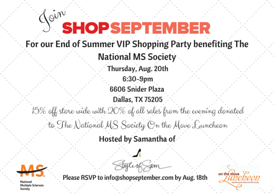 Style of Sam x ShopSeptember Event to benefit The National Multiple Sclerosis Society