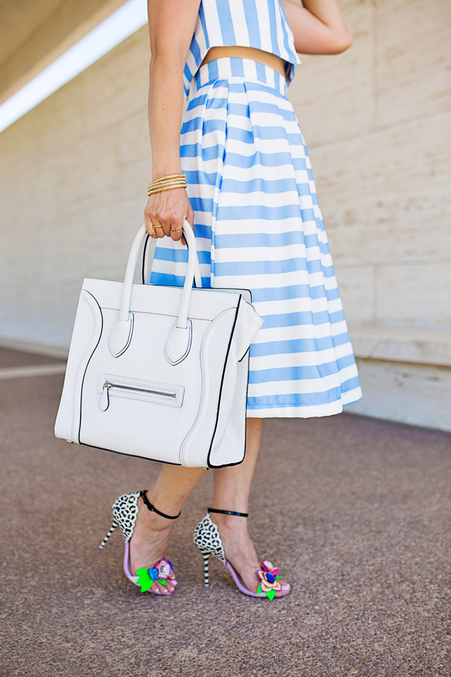 blue striped crop top and midi skirt matched set coordinates, white celine luggage tote, sophia webster lilico floral heels, retro modern style, how to wear a midi skirt
