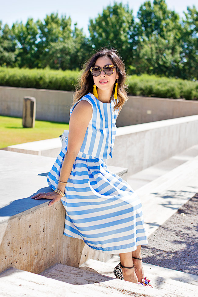 blue striped crop top and midi skirt matched set coordinates, yellow tassel earrings, sophia webster lilico floral heels, retro modern style, how to wear a midi skirt
