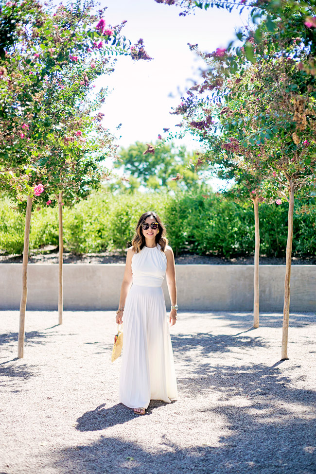 white pleated maxi dress, how to wear a maxi dress, charlotte olympia birdcage bag, cocobelle snake wrap sandals