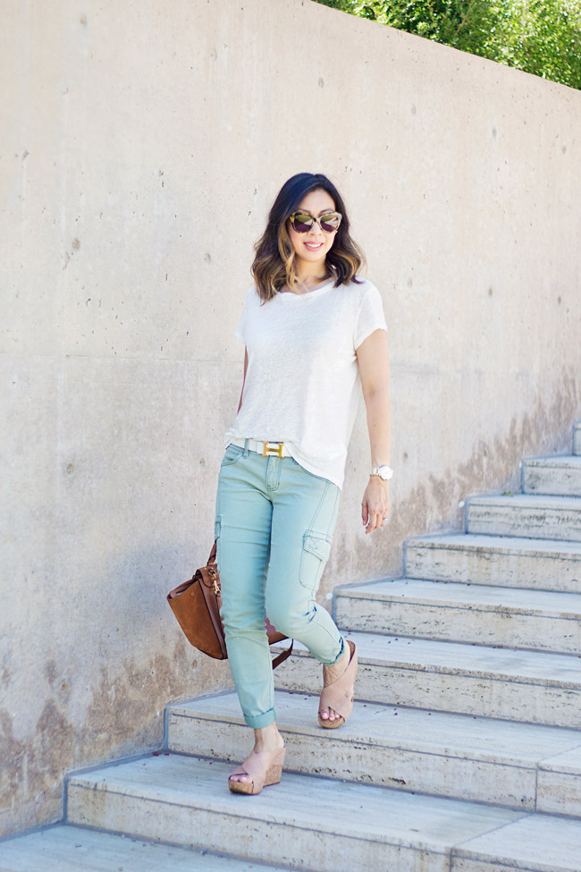 how to wear cargo pants, CAbi Celadon Cargo pant, linen tee, how to wear a linen tee, summer outfit idea