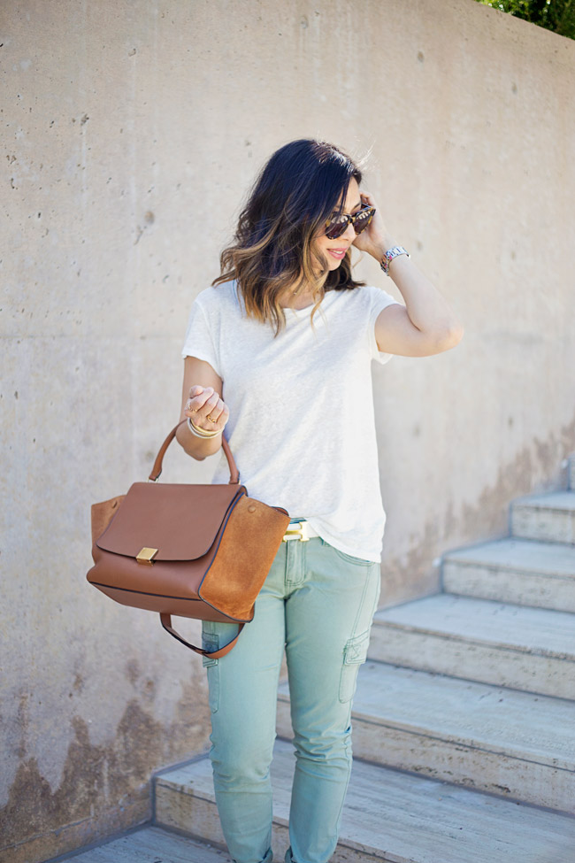 how to wear cargo pants, CAbi Celadon Cargo pant, linen tee, how to wear a linen tee, summer outfit idea, celine trapeze bag