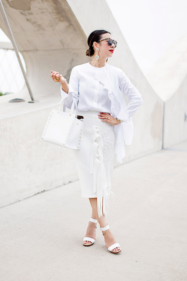 what to wear to diner en blanc, palmer harding pages top and fringe skirt a/w 14, all white outfit