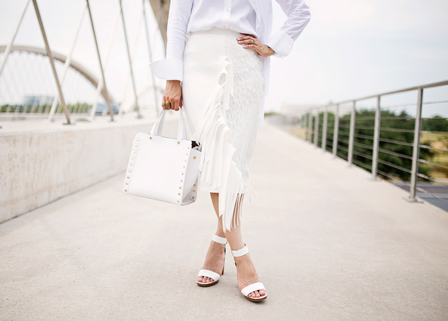what to wear to diner en blanc, palmer harding fringe skirt a/w 14, all white outfit, stila beso lipstick