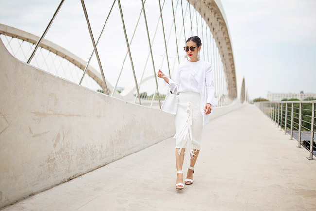 what to wear to diner en blanc, palmer harding pages top and fringe skirt a/w 14, all white outfit, oscar de la renta jeweled drop earrings