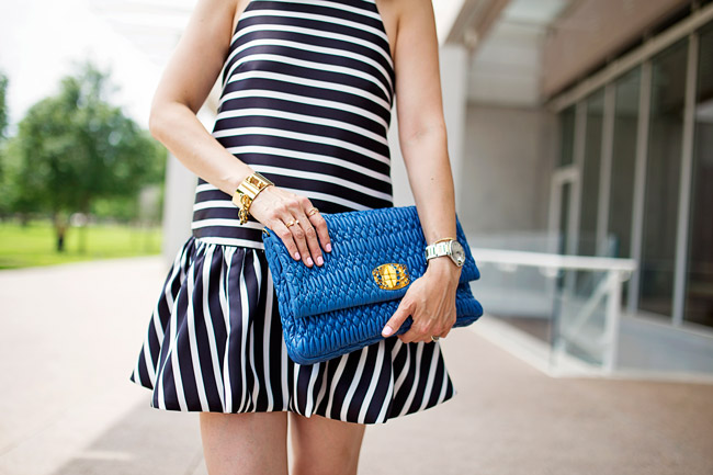 dropped hem striped dress, louis vuitton chain cuff, rings and things details, summer date night outfit ideas, convertible miu miu clutch