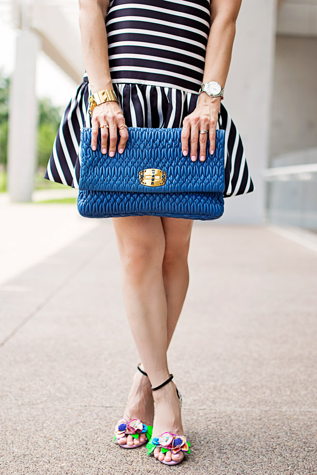 dropped hem striped dress, sophia webster lilico flower heels, summer date night outfit ideas, convertible miu miu clutch, rings and things details, louis vuitton chain cuff