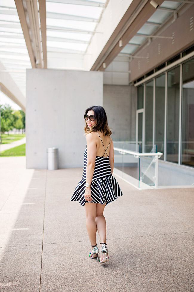 dropped hem striped dress, sophia webster lilico flower heels, summer date night outfit ideas