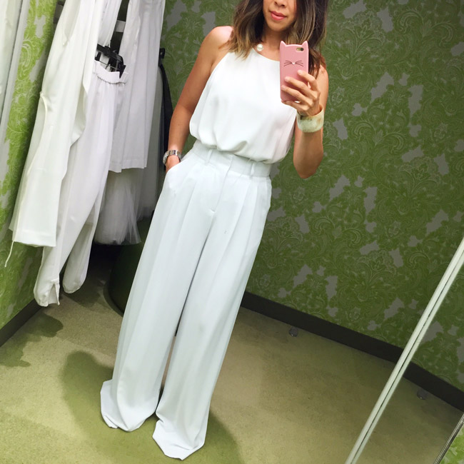 what to wear to diner en blanc, alice + olivia wide leg pant