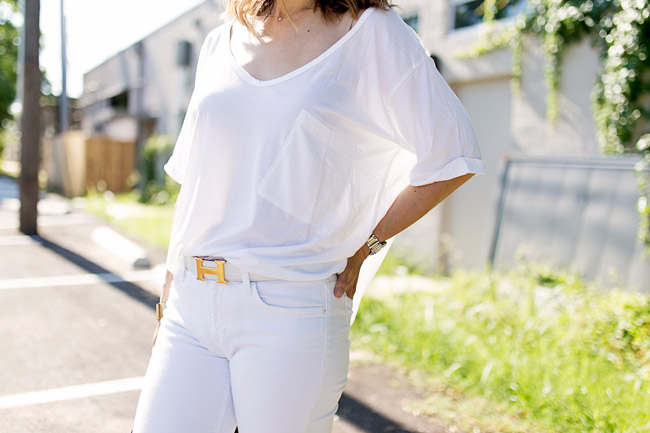 how to wear white jeans, hermes white belt, white after labor day