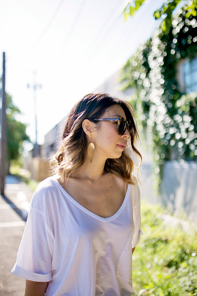 how to wear white jeans, raven and lily zia leaf earrings, white after labor day