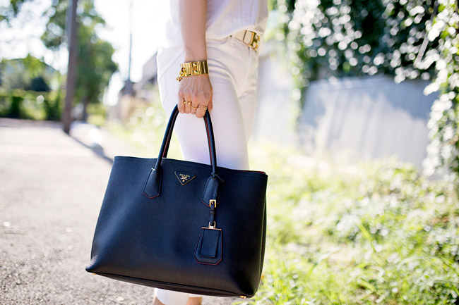 how to wear white jeans, prada double bag, louis vuitton cuff chain, white after labor day
