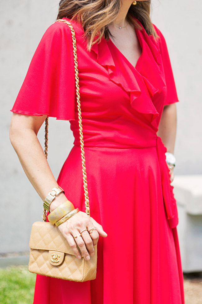 vintage red flutter sleeve dress, how to wear a red dress, vintage chanel mini flap and ball drop earrings