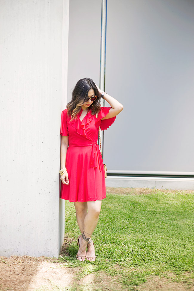 vintage red flutter sleeve dress, how to wear a red dress, isabel marant rio chain sandals, vintage chanel mini flap and ball drop earrings