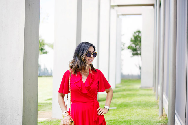 vintage red flutter sleeve dress, how to wear a red dress, lob haircut with ombre highlights