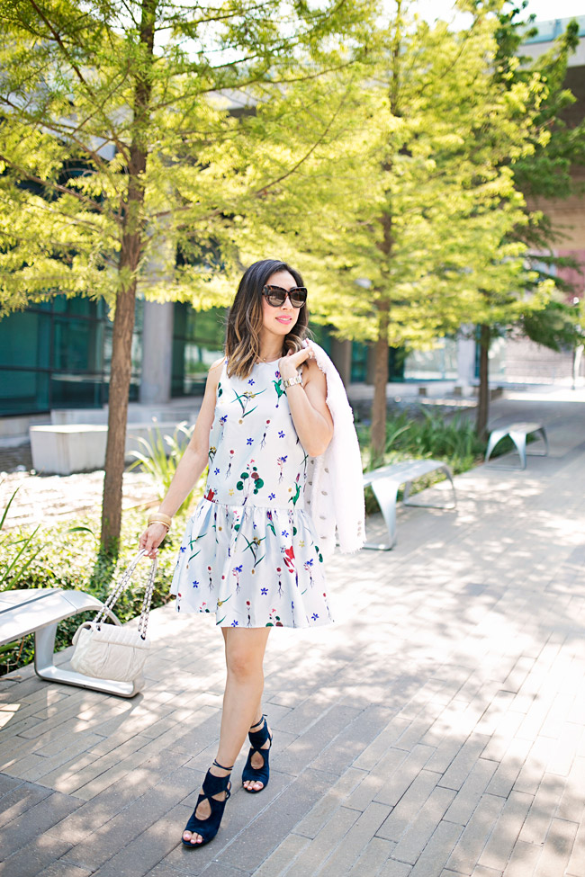 how to wear a floral dress, how to transition a summer dress for fall, aquazzura sexy thing heels