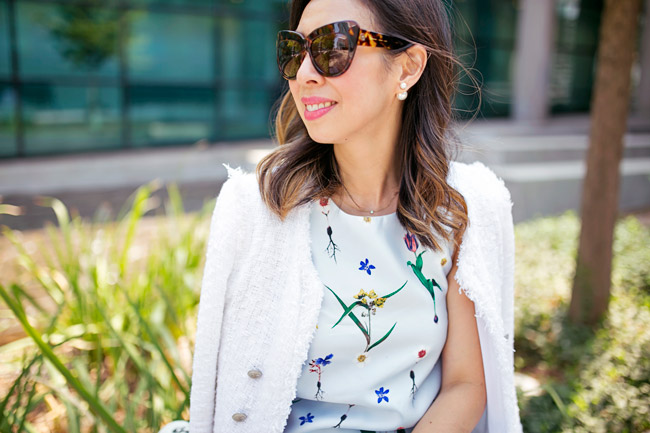 how to wear a floral dress, how to transition a summer dress for fall, double pearl dior earrings