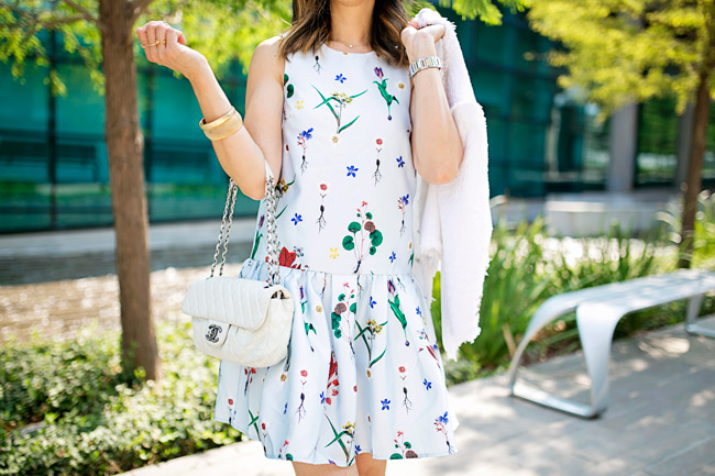 how to wear a floral dress, how to transition a summer dress for fall, chanel white flap bag