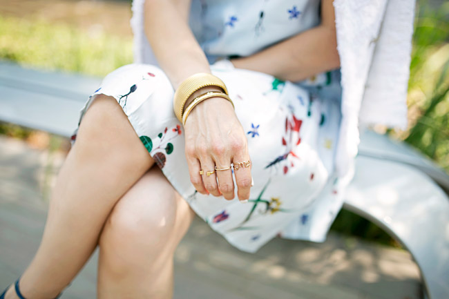 how to wear a floral dress, how to transition a summer dress for fall, vita fede cube ring
