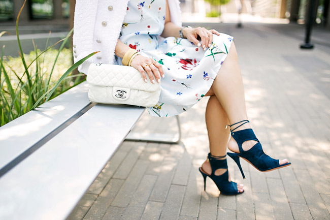 how to wear a floral dress, how to transition a summer dress for fall, aquazzura sexy thing heels, white chanel flap bag