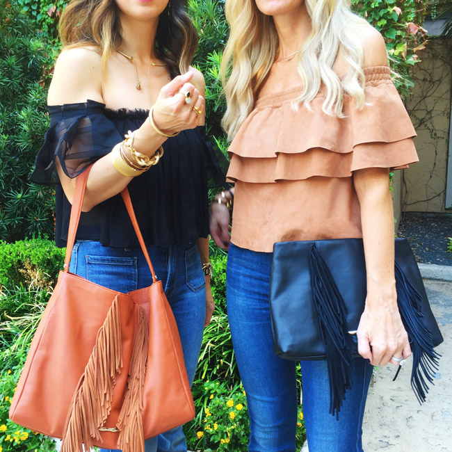 alexis off the shoulder top, flare jeans, fringe bag, hotel zaza x elaine turner big texas staycation