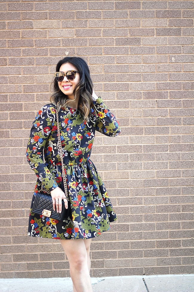 vivetta floral dress, how to wear florals in fall, chanel boy bag