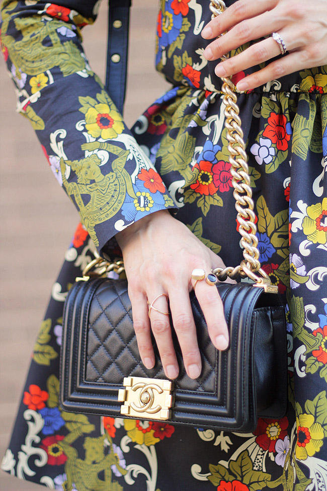 vivetta floral dress, how to wear florals in fall, chanel boy bag, barse jewelry double helix ring, tiklari hami ring