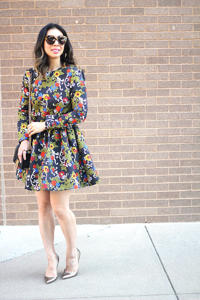 vivetta floral dress, how to wear florals in fall, chanel boy bag, valentino gold pumps
