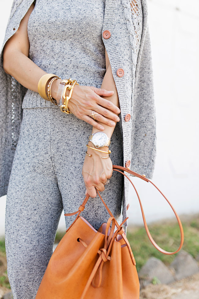 vintage sweater set, how to wear coords, mansur gavriel bag, cartier watch, arm party