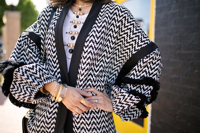 H&M opens in Fort Worth, how to wear a kimono cardigan, raven + Lily leaf ring, barse jewelry double helix ring, julie vos pearl bracelet, n'importe quoi alexis bittar bracelet
