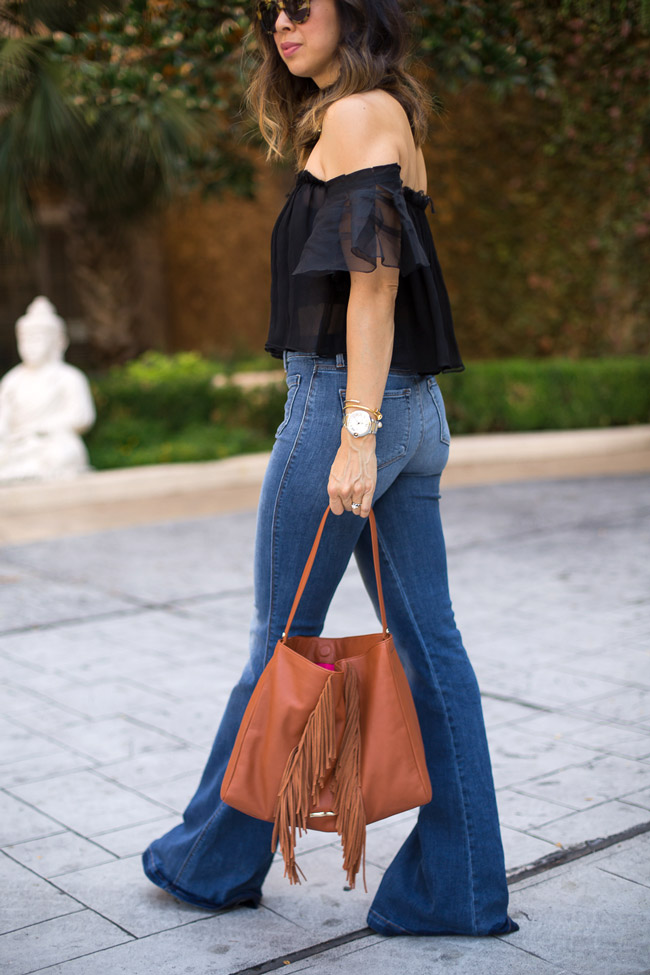 how to wear flare jeans, alexis off the shoulder top, j brand asbury high rise flare jeans, elaine turner jamie hobo