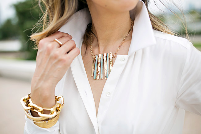 palmer harding tie front shirt, how to wear all white, barse jewelry prism necklace, gold arm party