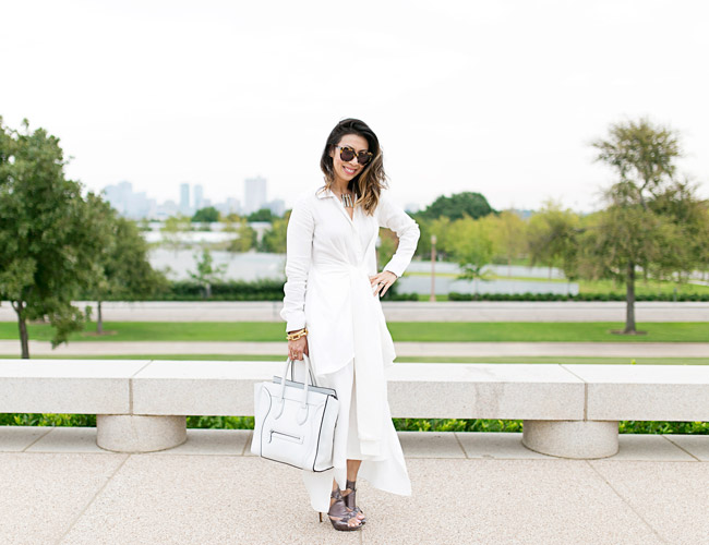 palmer harding tie front shirt, how to wear all white, barse jewelry prism necklace, dior extreme gladiator sandals, celine luggage tote