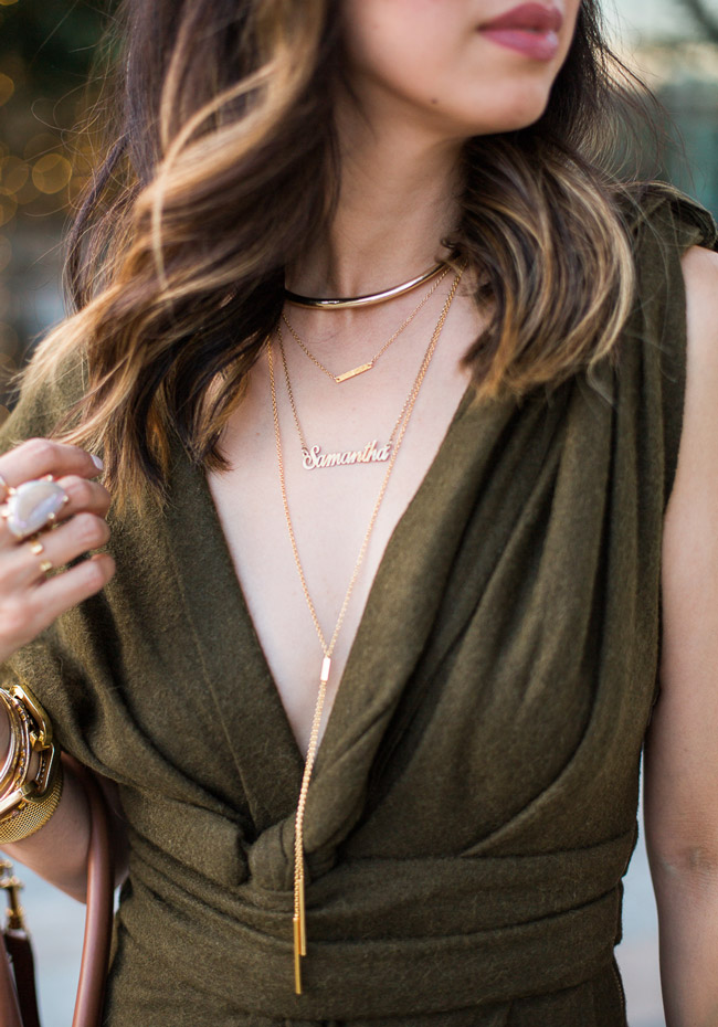 girls night out, alexis bittar choker, samantha name necklace onecklace, how to layer necklaces