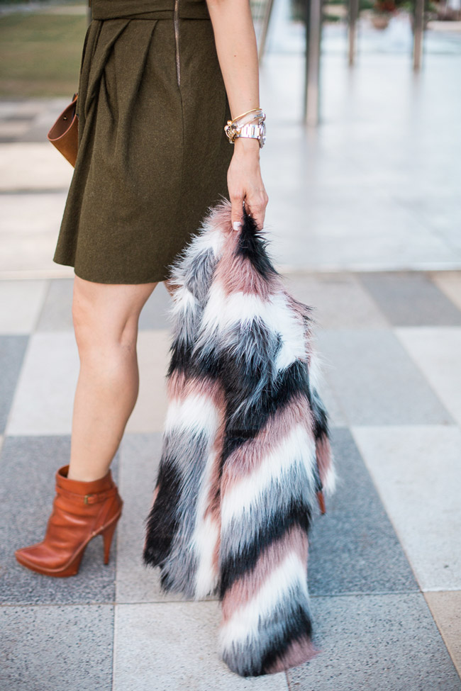 isabel marant erina dress, chevron fur jacket, celine trapeze bag, givenchy booties