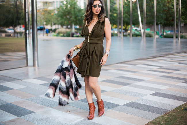 isabel marant erina dress, chevron fur jacket, celine trapeze bag, givenchy booties, dior so real dupes