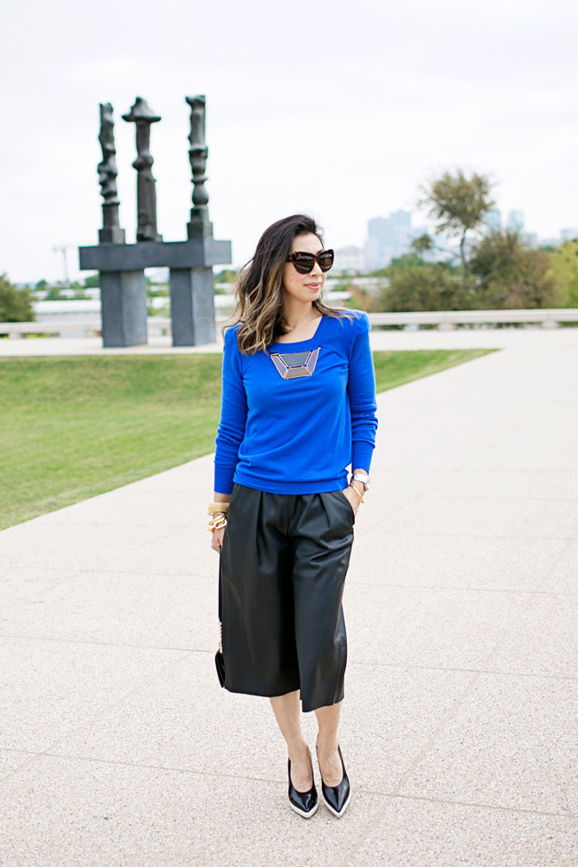 how to wear leather culottes, louis vuitton cashmere sweater, how to wear blue and black