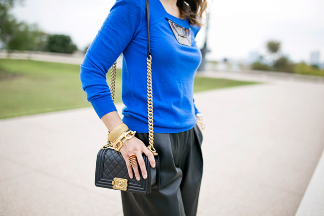 how to wear leather culottes, louis vuitton cashmere sweater, how to wear blue and black, chanel boy bag, vita fede futuro ring