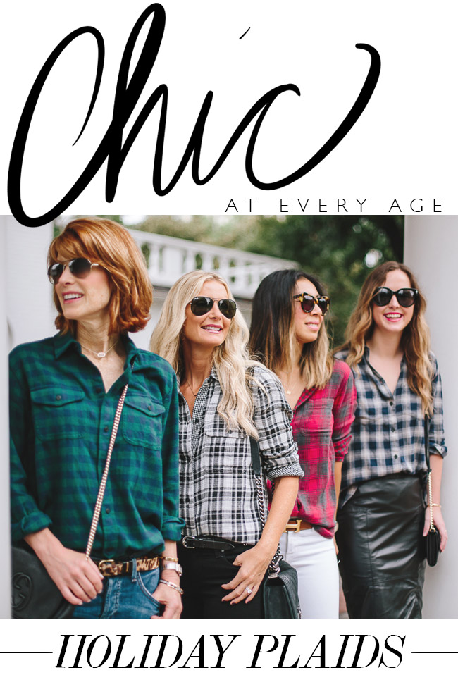 chicateveryage-style at every age, how to wear plaid shirts, holiday plaid