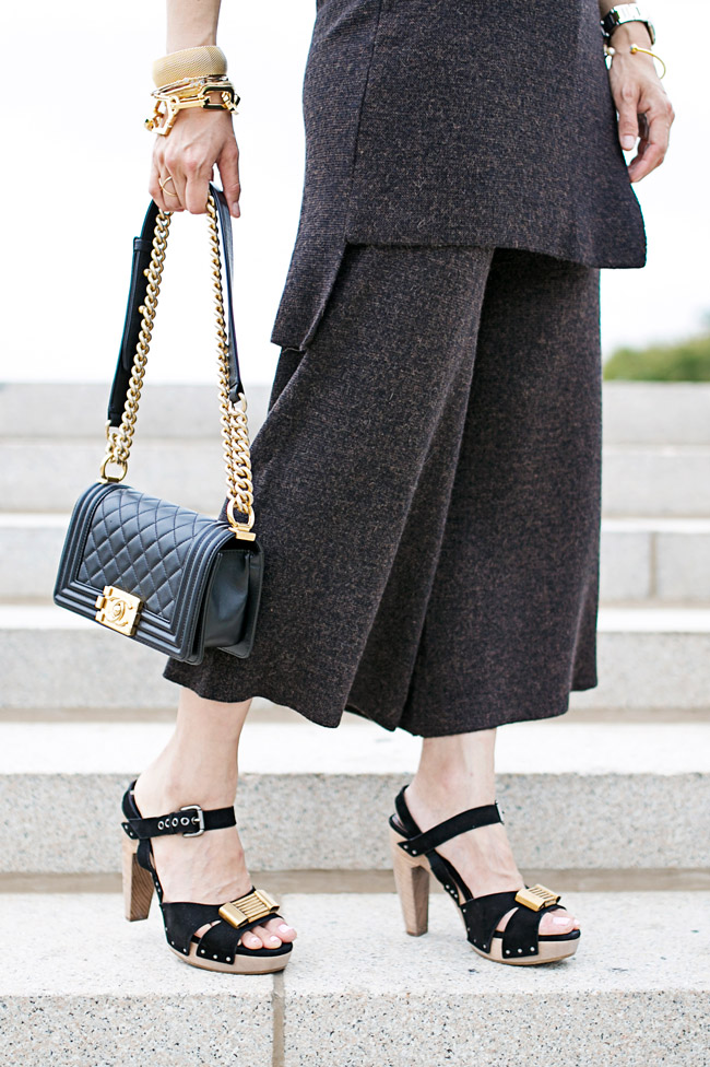 how to wear coords, how to wear culottes, gold arm party, chanel boy bag small, marni platform heels